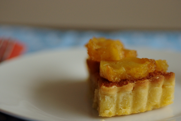 Pineapple and almond tart